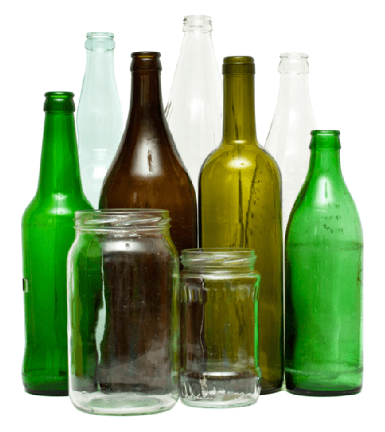 Household glass bottles for recycling jars for recycling